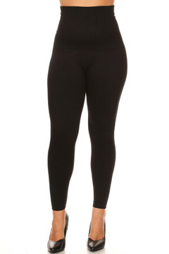 38dc605f38 High Waist French Terry Compression Leggings - Plus Size