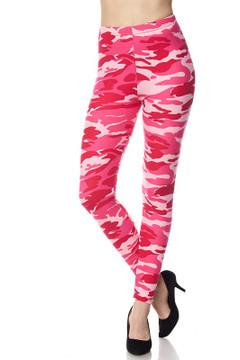 Plus Size Pink Camouflage Leggings
