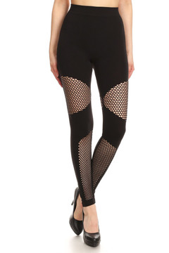 Sexy Block Mesh Solid Black Leggings