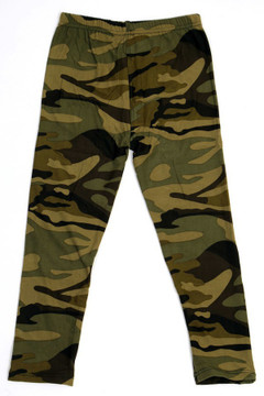 Wholesale Buttery Soft Green Camouflage Kids Leggings