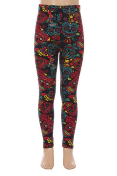 Red and Blue Sugar Skulls Kids Leggings