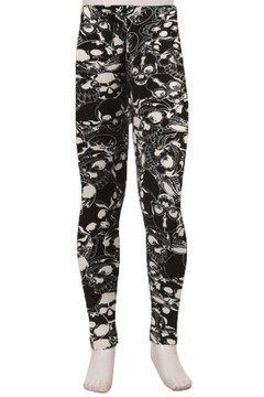 Black Layers of Skulls Kids Leggings
