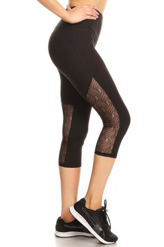 Women's Lace Mesh Panel Workout Capris