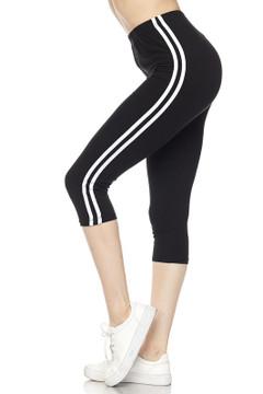 Sport Stripe Basic Plus Size Capris