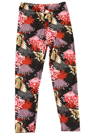 Brushed Japanese Cranes and Chrysanthemums Kids Leggings