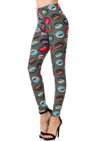 Brushed Groovy Bottlecap Plus Size Leggings