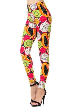 Brushed Colorful Tropical Fruit Plus Size Leggings - 3X-5X