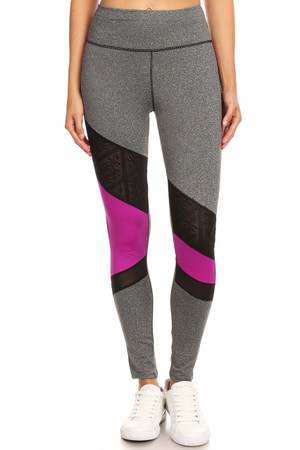 Premium Olive Multi Mesh Panel Workout Leggings