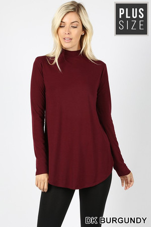 Premium Long Sleeve Mock Neck Round Hem Plus Size Top