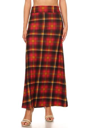 Sunset Plaid Maxi Skirt