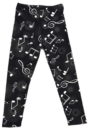 Brushed Musical Note Geometry Kids Leggings