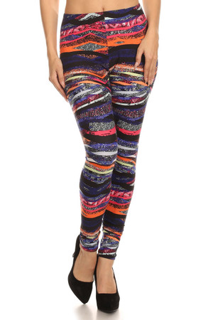 Front image of Brushed Colorful Bands Leggings