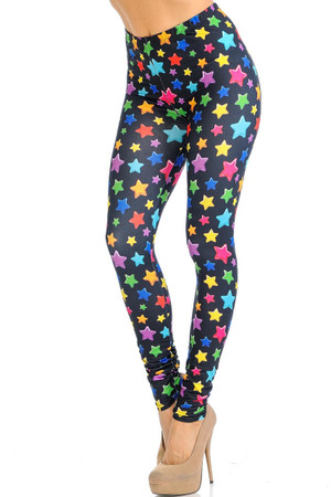 Creamy Soft Colorful Cartoon Stars Leggings - Signature Collection