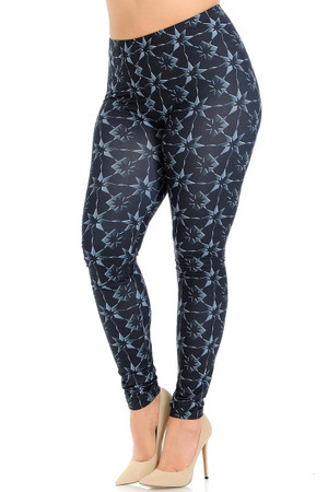 Creamy Soft Metallic Stars Plus Size Leggings - Signature Collection