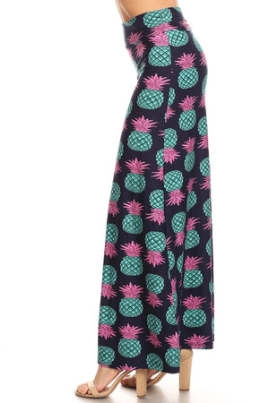 Brushed Teal Pineapple Maxi Skirt