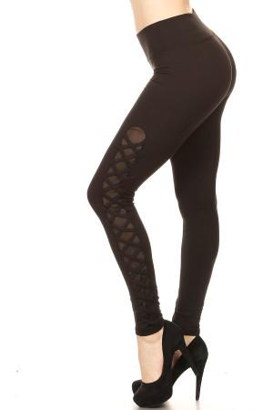 Women's Crisscross Mesh Workout Leggings