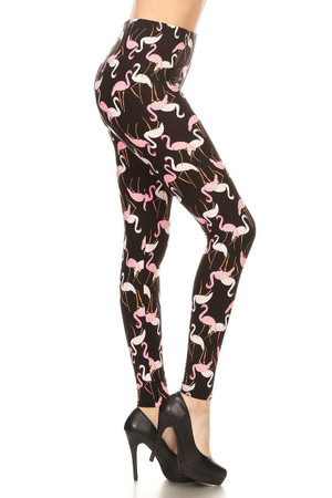 Brushed Pink and White Flamingo Plus Size Leggings - 3X-5X
