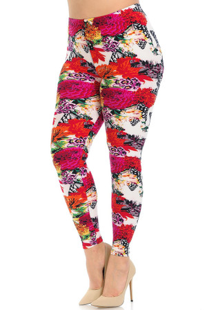 Brushed Butterfly Garden Plus Size Leggings