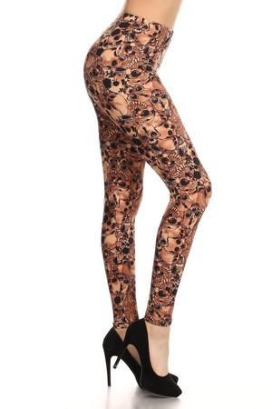 Brushed Mocha Layers of Skulls Plus Size Leggings