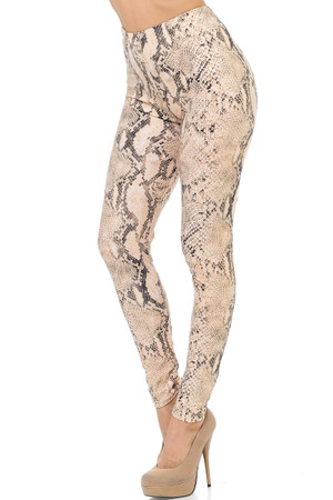 Brushed Cream Snakeskin Plus Size Leggings - 3X-5X