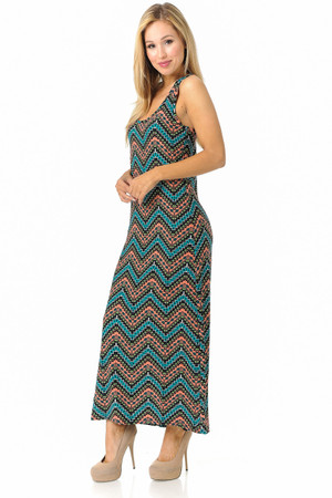 Brushed Summer Chevron Maxi Dress