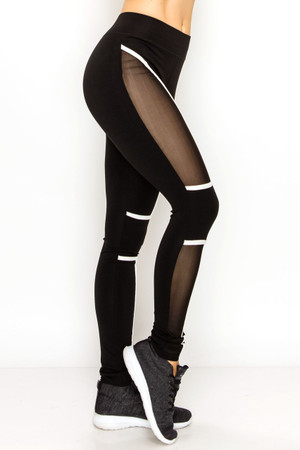 Contour Linear Sport Mesh Workout Leggings
