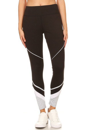 Multi Tone Ankle Contrast Sporty Workout Leggings
