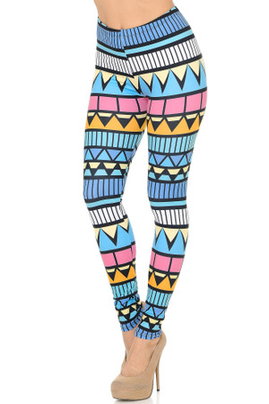 Side Image of Double Soft Brushed Stonehenge Tribal Leggings
