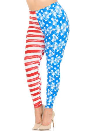 Soft Brushed Vintage Pastel USA Flag Plus Size Leggings