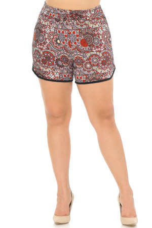 Soft Brushed Rouge Mandala Plus Size Dolphin Shorts