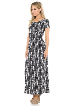 Soft Brushed Short Sleeve Splattered Lines Maxi Dress