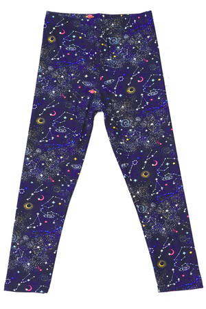 Soft Brushed Space Constellation Kids Leggings
