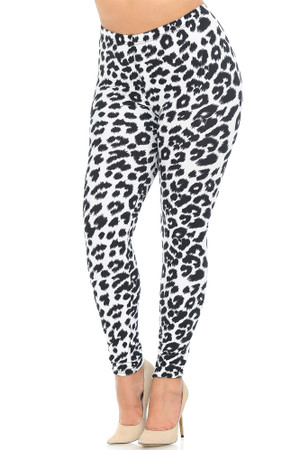 Soft Brushed Ivory Spotted Leopard Plus Size Leggings