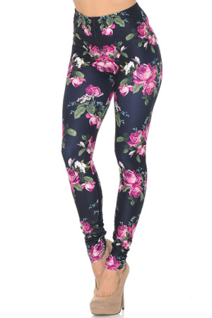 Creamy Soft Fuchsia Rose Leggings - USA Fashion™