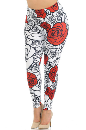 Creamy Soft Red Stencil Roses Plus Size Leggings - USA Fashion™