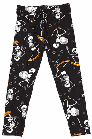Brushed Skateboarding Skeletons Halloween Kids Leggings