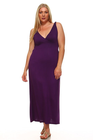 Surplice Neckline Twisted Strap Plus Size Maxi Dress