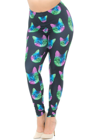 Creamy Soft Neon Cats Extra Plus Size Leggings - 3X-5X - USA Fashion™