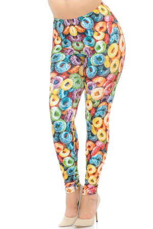 Creamy Soft Colorful Cereal Loops Plus Size Leggings - USA Fashion™
