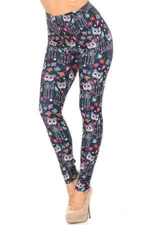 Creamy Soft Sugar Skull Kitty Cats Leggings - USA Fashion™