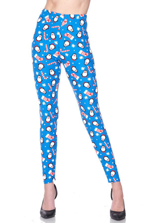 Brushed Icy Blue Christmas Penguins Leggings