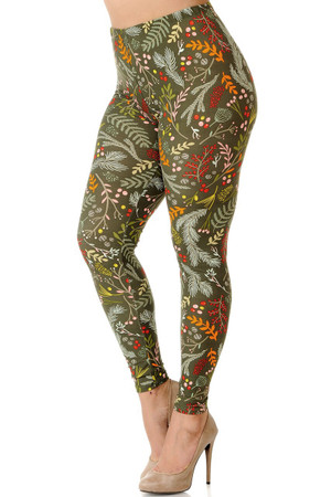 Brushed Holiday Olive Garden Extra Plus Size Leggings - 3X-5X