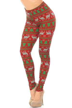 Brushed  Faux Knit Reindeer and Holiday Tree Leggings