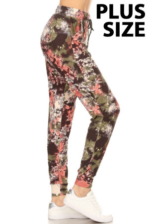 Brushed  Evening Twilight Tie Dye Plus Size Joggers