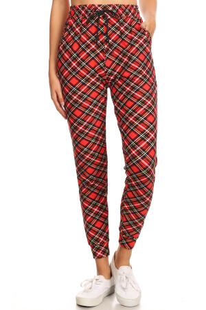 Brushed  Angle Ruby Red Plaid Joggers