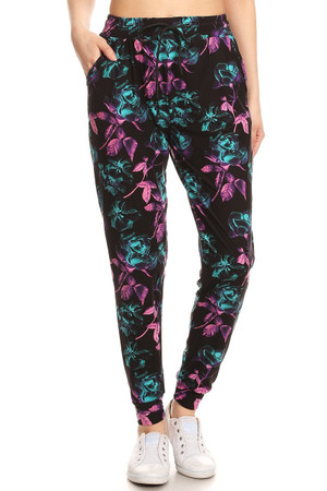 Brushed  Electric Pink and Teal Floral Joggers