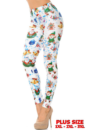 White Wonderful Festive Christmas Leggings - Plus Size