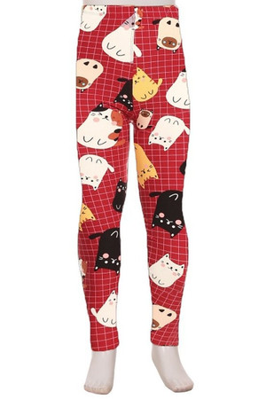 Brushed Cartoon Kitty Cats Kids Leggings