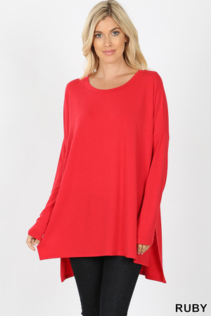 Dolman Sleeve Round Neck Side Cut HI-LOW Hem Top
