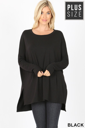 Dolman Sleeve Round Neck Side Cut HI-LOW Hem Plus Size Top